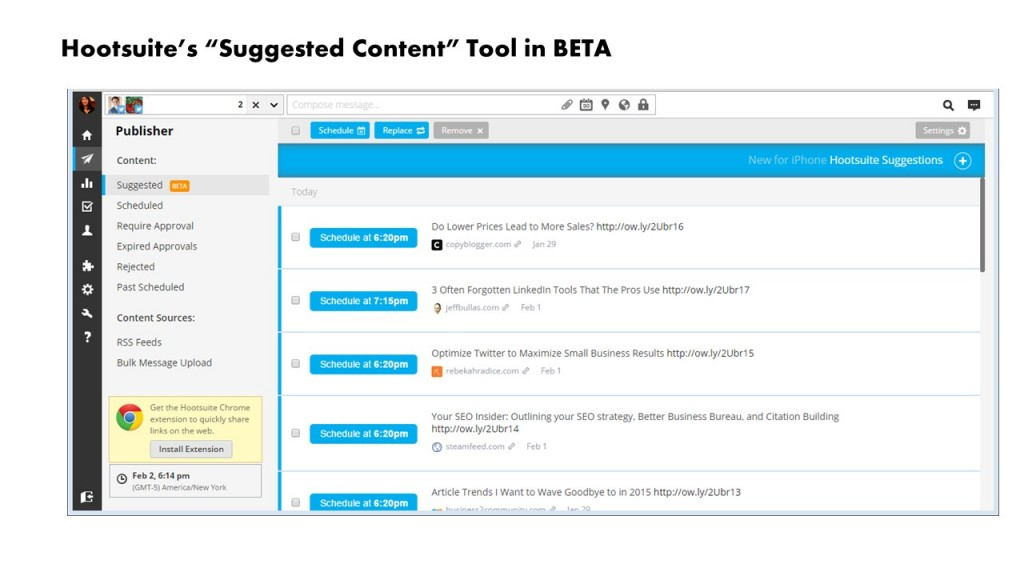 Hootsuite Suggested content tool